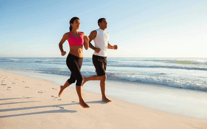 Running on the beach image