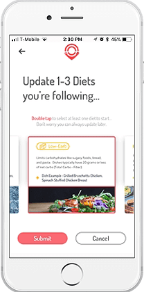 dish app diet update view